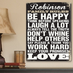 Antique Style Family Rules Canvas